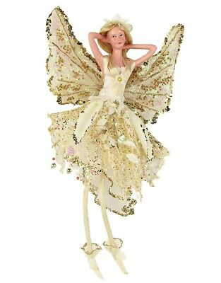 """12"""" Attractive Christmas Holiday Mesh Fairy Figurine Ivory A61233"""
