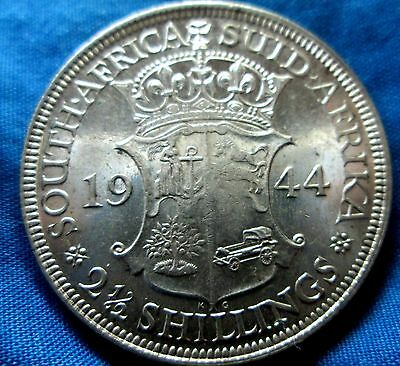 1944 South Africa   2 1/2 Shillings Silver Au/ ? Condition Ae-155