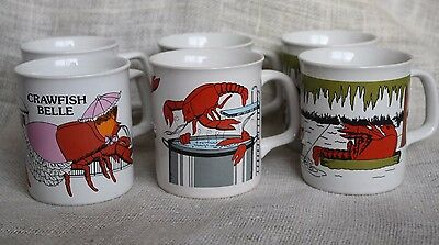 VTG Louisiana Crawfish Boil Coffee Mug Set Holmes-Style New Orleans June Sobel