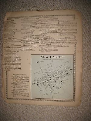 Antique 1872 Newcastle Coshocton County Ohio Handcolored Map W Land Owners Rare
