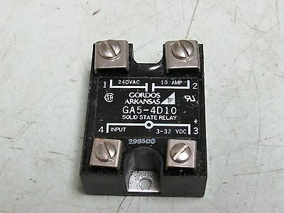 Gordos Arkansas Ga5-4D10 Solid State Relay 240Vac 10A 3-32 Vdc Free Ship