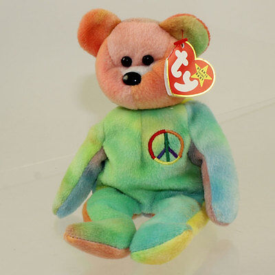 TY Beanie Baby - PEACE the Ty-Dyed Bear (8.5 inch - Green) MWCT's