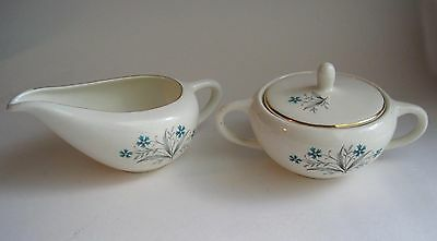 Vintage Scio Pottery HAMPTON Sugar Bowl Creamer Turquoise Blue Flower Gold Trim