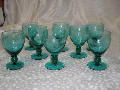 Retro Vintage Bohemia Green Etched Sherry Glasses Art Glass X 8 Czechoslvakia