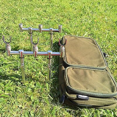 New Goal Post Buzz Bar Set 20-35 Cm Bank Sticks + 3 U Rests Carp Fishing + Bag