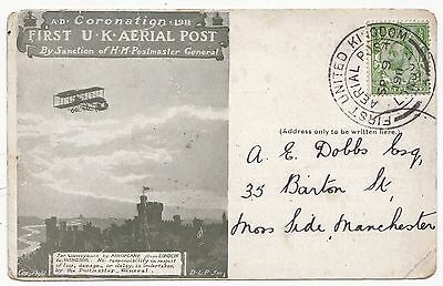 * 1911 London Aerial Post Special Postmark  Financial Outlook Advertising Card