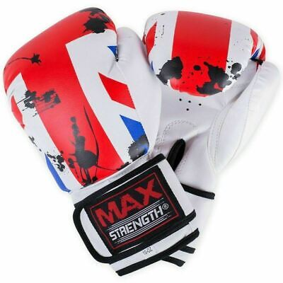 MAXSTRENGTH UK Flag Boxing Gloves Sparring Fight Punch Bag Mitts Rex Leather MMA