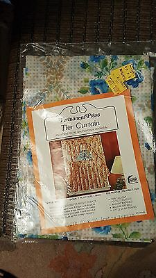 Vintage Permanent Press TIER CURTAIN PAIR Shades of Blue & Brown ROSES Camper