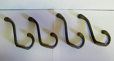 4 Antique Cast Iron Coat Hook Victorian Wall Hall Tree School Industrial VTG Lot