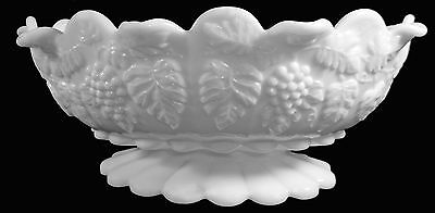 "Vintage Westmoreland Milk Glass Paneled Grape 11""l Lipped Rim Oval Console Bowl"
