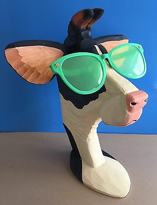*PEEPERS* Store Display COW BULL GLASSES SUNGLASSES Carved Wood LARGE 17""