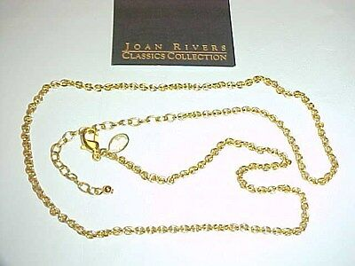 """Vintage Retro """"joan Rivers"""" Gold Cable 22"""" Chain Necklace With 3.5"""" Extender J28"""
