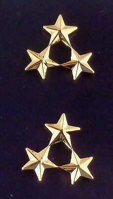 "Police Deputy Assistant Chief/Sheriff 3 stars 3/8"" Cluster Gold Pair Collar Pins"