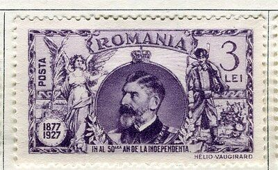 ROMANIA;  1927 Independence Anniversary mint hinged 3L. value
