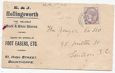 * 1914  E & J HOLLINGSWORTH BOOT SHOE ADVERTISING COVER SCUNTHORPE QV 1d STAMP!!