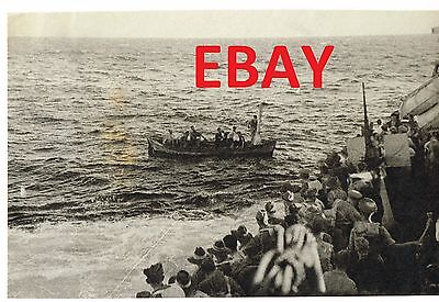 Wwii Rare Press Photo Royal Navy Destroyer Kimberley Picks Up Soldiers W/story