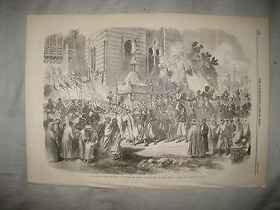 Antique 1869 Prince Princess Of Wales In Cairo Egypt Orientalist Print Victorian
