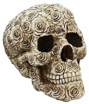 Rose Flower Pattern Skull Figurine Statue DOD Day of The Dead