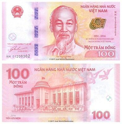 Vietnam 100 Dong 2016 P-New 65th Anniversary Commemorative Banknotes UNC