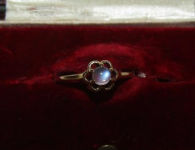 Delicate, Victorian, 16Ct Gold Ring With Fine Natural Moonstone