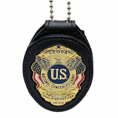 LEOSA Qualified Officer Clip On Belt Neck Chain Leather Police Badge Holder