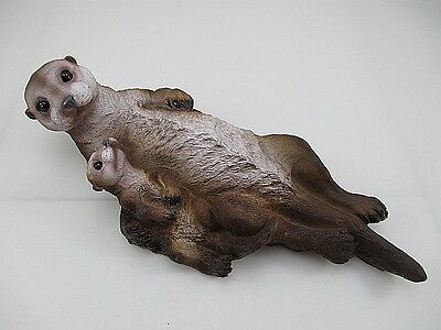 Otter Mama with Baby floating For Pond,Garden pond,Water,34 cm,very original