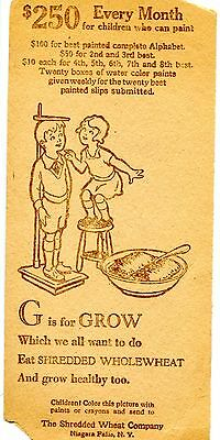 Shredded Wheat Cereal Children's Coloring Contest-G for Grow-Vintage Advertising