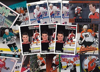 Lot of 18 Assorted Eric Lindros Team Canada/Oshawa/Flyers Hockey Cards