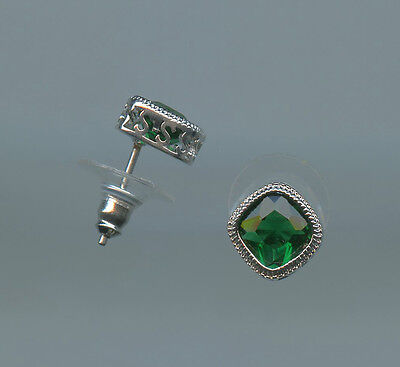 1 75 Carat 7mm Each Cushion Cut Emerald Green Cz Solitaire Stud Earrings