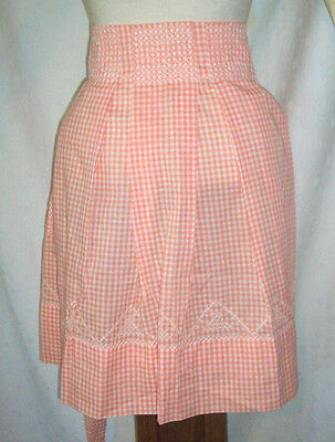 White and tangerine gingham embroidered triangles vintage half Apron large