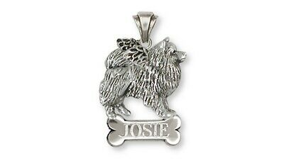 Keeshond Angel Personalized Pendant Jewelry Sterling Silver Keeshond Angel Dog P