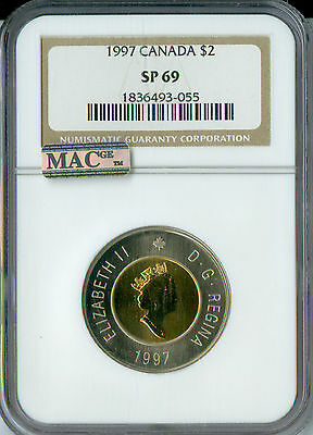1997 Canada $2 Twoonie Ngc Mac Sp69 Pq Finest Graded Spotless *