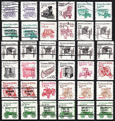 Usa — Transportation Series — 89 All Different Pnc Singles, Including Precancels