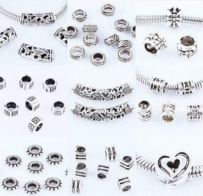 Lot Tibetan silver Big-hole Charm Loose Spacer Beads DIY Jewelry Crafts Findings