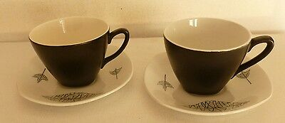 2 x Midwinter Pottery 1950's Nature study cups and saucers JESSIE TAIT