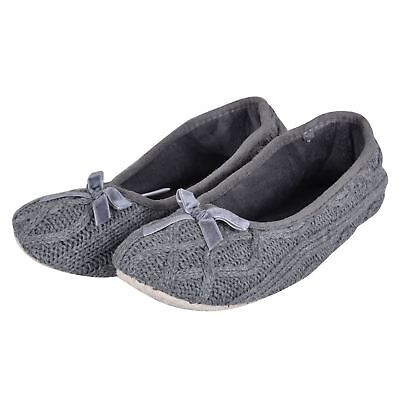 Ladies Grey Cable Knitted Ballet Ballerina Slippers With Fabric Non-Slip Sole