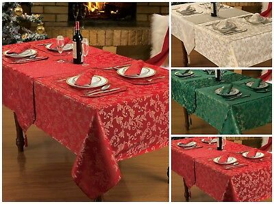 Christmas Festive Jacquard Table Cloth Tableware Sparkle Glitter Red Green Cream