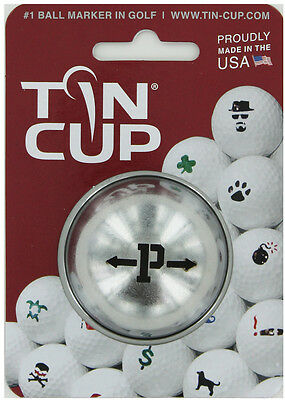 Tin Cup. Golf Ball Marker System. Alpha Players Letter P