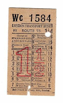 Biglietto  London  Transport  Route  73