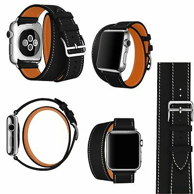 4 in 1 Leather Cuff Bracelet Long Watch Band Strap Black iWatch 38mm Apple