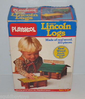 LINCOLN LOGS Read Wood BUILDING TOY 1986 Playskool vintage toy