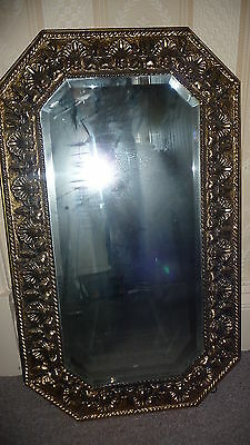 Mirror bevelled brass art deco art nouveau 45x76cm wood backed