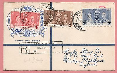 1937 Swaziland Kgvi Coronation Fdc Registered Cachet Cover To England