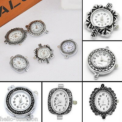 5Set 5pcs Mixed Fashion Quartz Watch Face Silver Plated For Beading