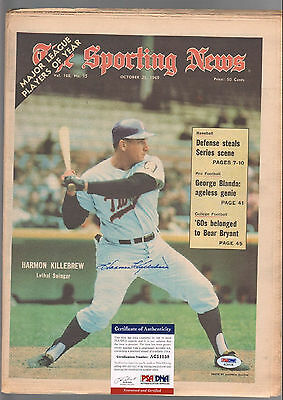 Harmon Killebrew Signed Autographed Oct 25 1969 Sporting News Psa/dna #ac5138