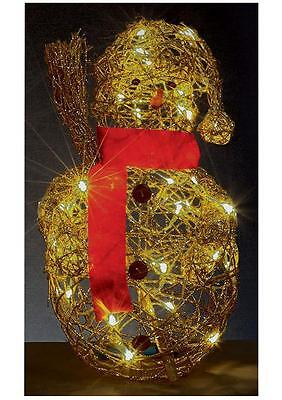 45cm Rattan LED Gold Snowman Xmas Lights Indoor Outdoor Christmas Decoration
