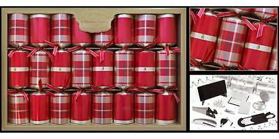 8 Premium Crackers Red Tartan Christmas Table Decorations Xmas Accessories