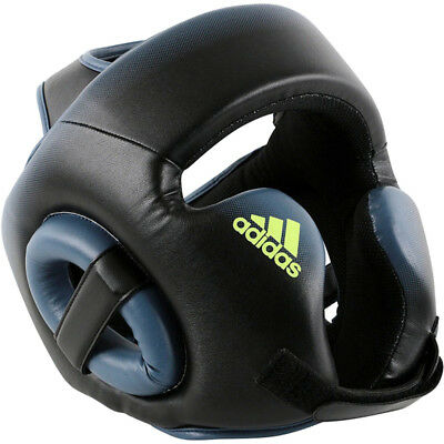 Adidas Speed Kick Boxing Full Face Headgear - Black/Tech Ink/Solar Yellow