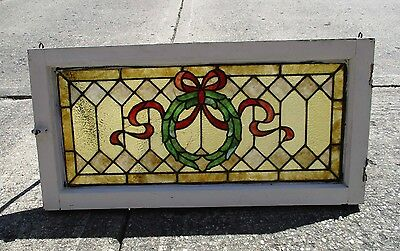 """Antique Stained Glass Wood Framed Window - Eastlake Style - 18"""" x 36""""  (#1)"""