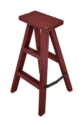 Little Red Ladder Rustic Folding Wooden Step Ladder Display Stand